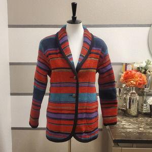 WOOLRICH Striped Southwest Blanket Wool Coat Sz M
